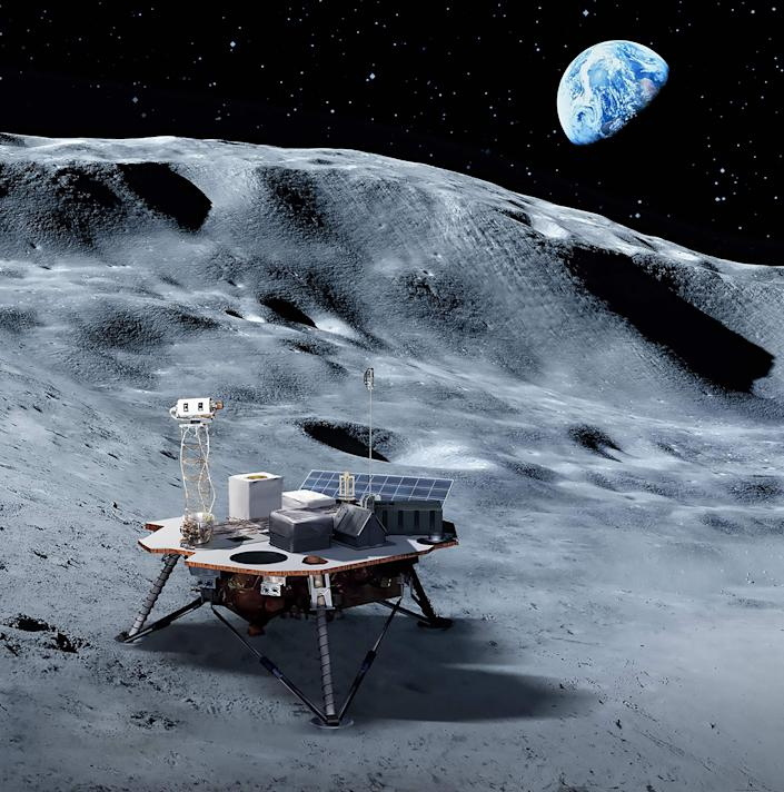 This handout illustration obtained May 31, 2019 courtesy of NASA shows planet Earth rimming the Moon's horizon with a commercial lander that will carry NASA-provided science and technology payloads to the lunar surface, paving the way for NASA astronauts to land on the Moon by 2024.