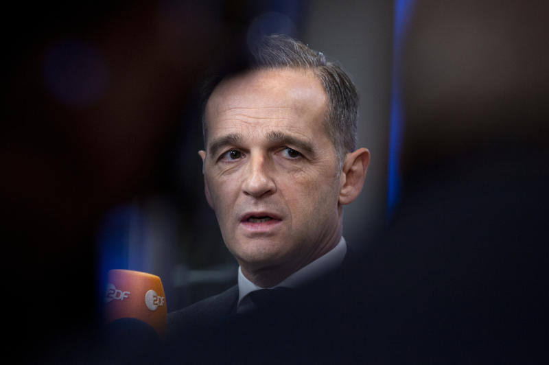 German Foreign Minister Heiko Maas arrives for a meeting of EU foreign ministers at the Europa building in Brussels, Monday, Jan. 20, 2020. EU foreign ministers meet in Brussels on Monday to discuss the situation in Libya and Venezuela, the deteriorating security and humanitarian situation in Sahel, and climate diplomacy. (AP Photo/Virginia Mayo)