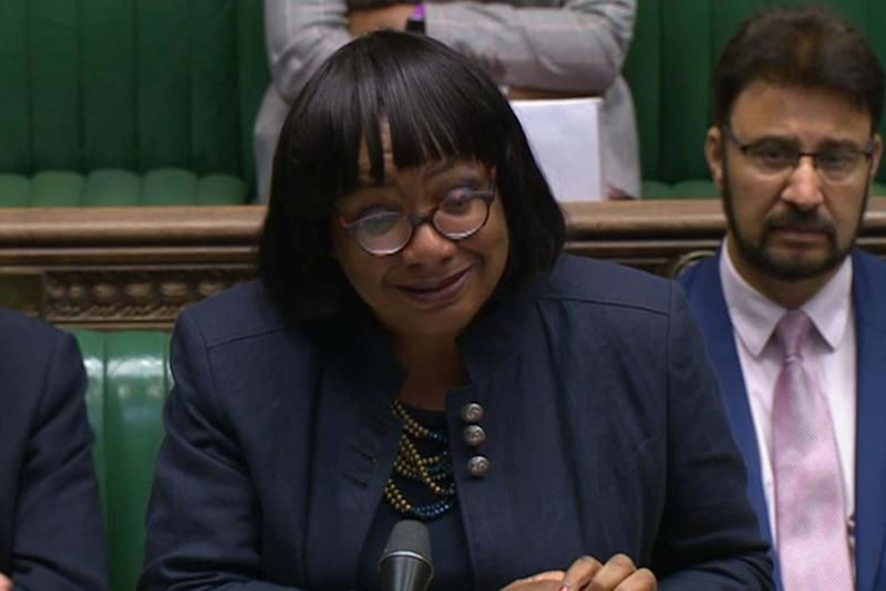 Diane Abbott pictured in the Commons on Wednesday (PA)