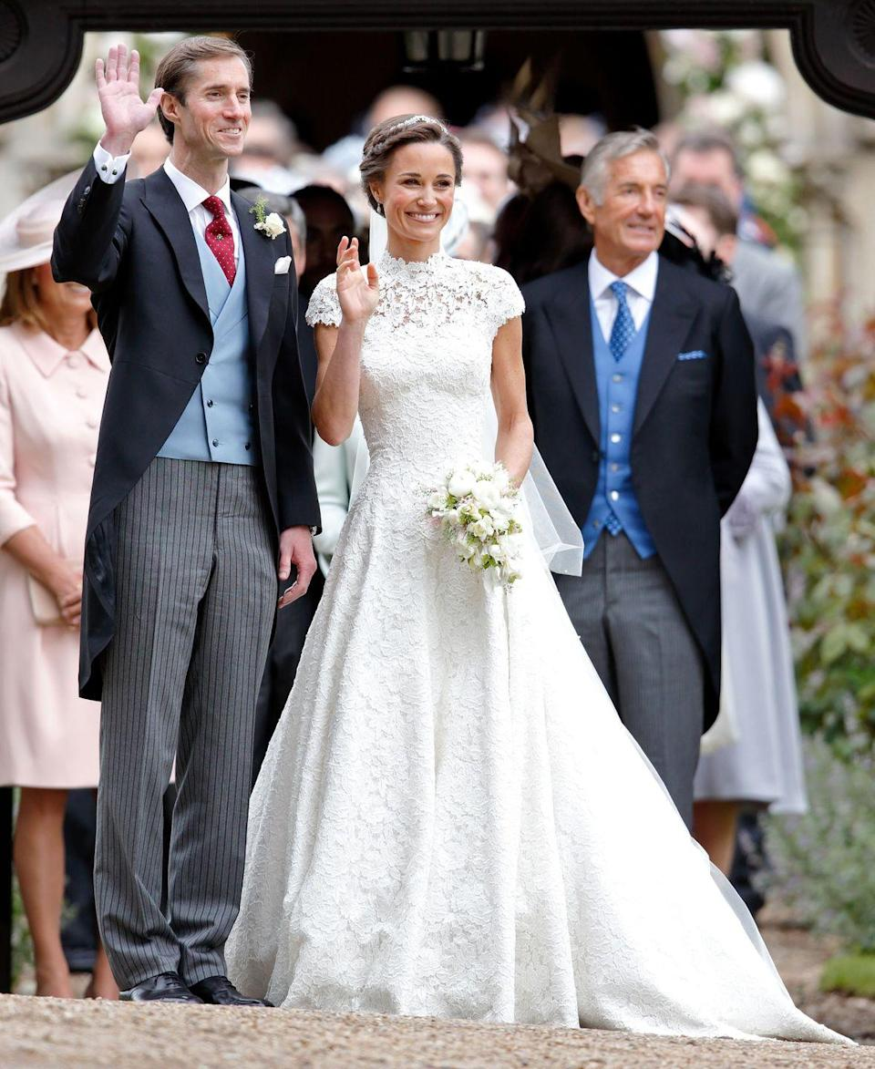 <p>Dubbed the society wedding of 2017, Prince William's sister-in-law wore a lace gown by British couturier Giles Deacon when she tied the knot with hedge fund manager James Matthew. </p>