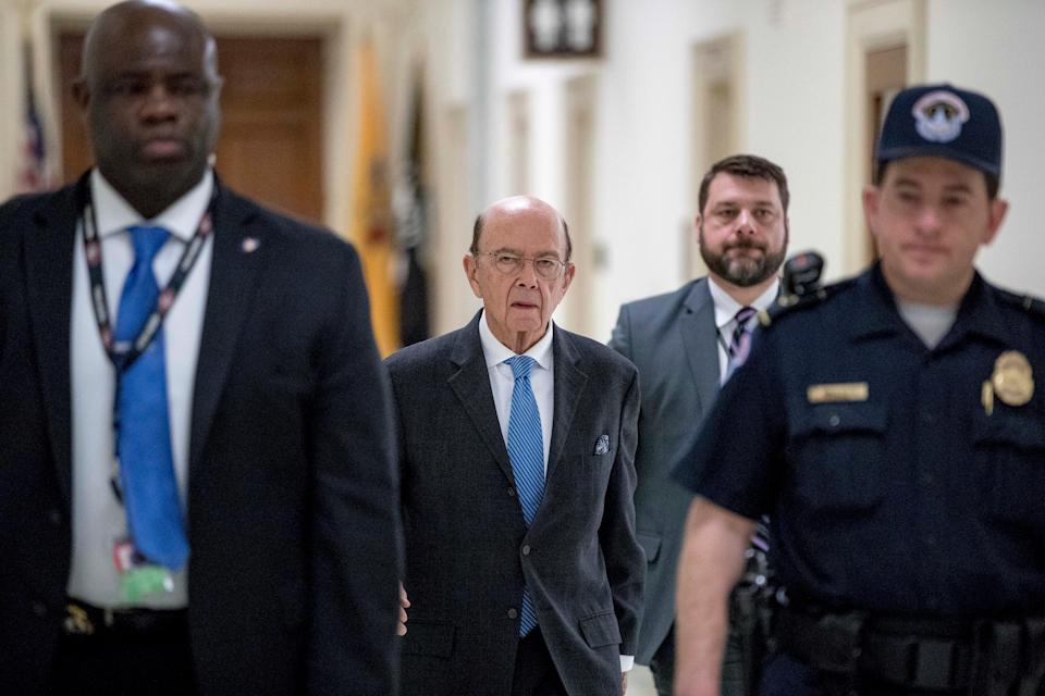 Commerce Secretary Wilbur Ross arrives for a House Appropriations subcommittee budget hearing on Capitol Hill, Tuesday, March 10, 2020, in Washington.