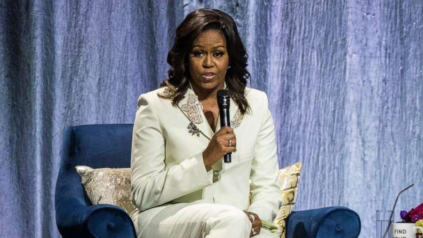 PHOTO: Michelle Obama speaks during her 'Becoming: An Intimate Conversation with Michelle Obama' Tour at the Ericsson Globe Arena on April 10, 2019 in Stockholm, Sweden. (Michael Campanella/Getty Images)