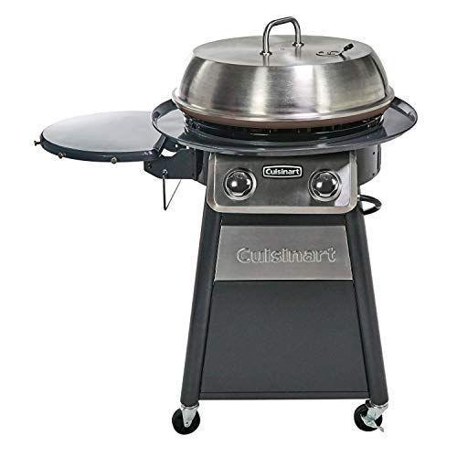 """<p><strong>Cuisinart</strong></p><p>amazon.com</p><p><strong>$252.20</strong></p><p><a href=""""https://www.amazon.com/dp/B07S6HFQCZ?tag=syn-yahoo-20&ascsubtag=%5Bartid%7C1782.g.36422297%5Bsrc%7Cyahoo-us"""" rel=""""nofollow noopener"""" target=""""_blank"""" data-ylk=""""slk:BUY NOW"""" class=""""link rapid-noclick-resp"""">BUY NOW</a></p><p>While many grills have a hinge top that opens from one side, the stainless steel lid of this Cuisinart means you have access to turning your food from all angles of the circular cooking surface.</p>"""