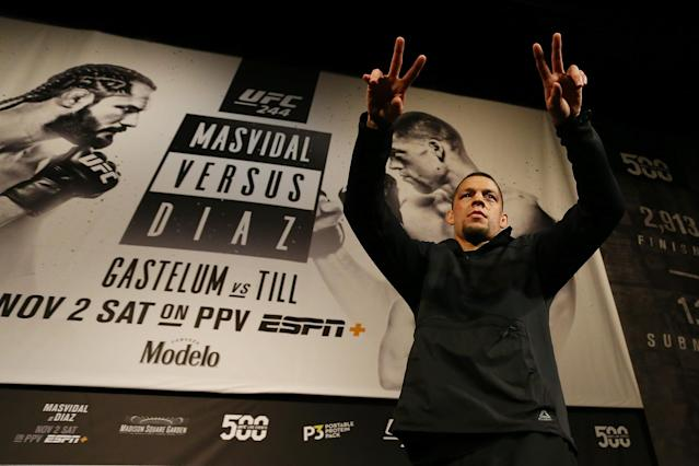 UFC fighter Nate Diaz waves to the crowd during open workouts for UFC 244 at The Hulu Theater at Madison Square Garden on Oct. 30, 2019 in New York City. (Mike Stobe/Zuffa LLC)