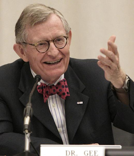 FILE - In this Friday, June 7, 2013 file photo, Ohio State University president Gordon Gee gives his retirement speech during a board of trustees meeting in Columbus, Ohio. Ohio State is one of several major universities seeking a new president. (AP Photo/Jay LaPrete, File)