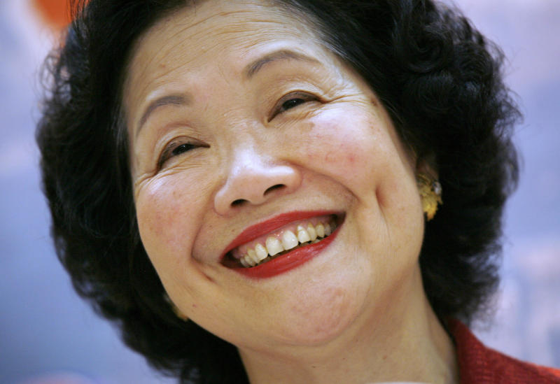 """FILE - This July 6, 2008, file photo shows Hong Kong's former Chief Secretary Anson Chan during a press conference in Hong Kong.  Chan, long an outspoken advocate for more democracy in the ex-British colony, is urging the city's chief executive, Carrie Lam, to shelve proposed extradition legislation that has sparked mass protests. On Thursday, June 13, 2019, dozens of people were injured in clashes with police. In an interview with The Associated Press, the 79-year-old Chan said a massive protest march Sunday, June 9, that drew hundreds of thousands of people showed """"the Hong Kong spirit at its best.""""(AP Photo/Vincent Yu, File)"""
