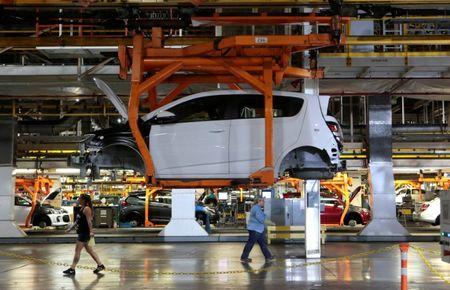 A partially assembled Chevrolet 2017 Sonic is seen on the assembly line at GM's Orion Assembly plant in Orion