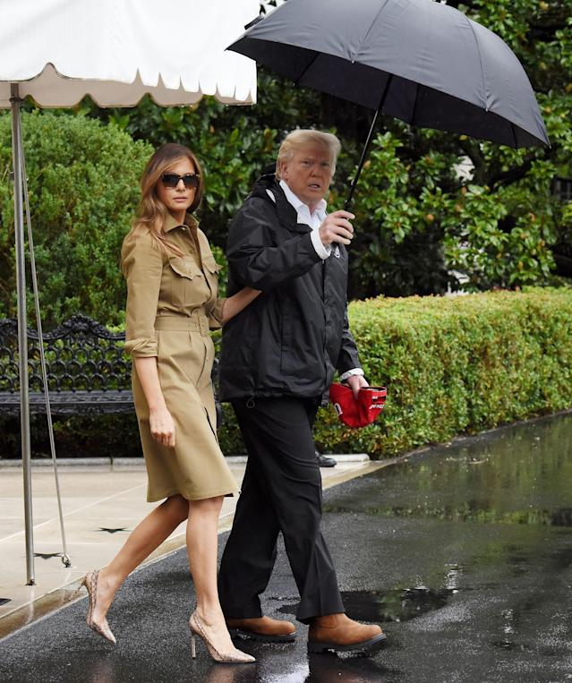 Melania Trump and President Trump en route to Texas to visit hurricane victims. (Photo: Getty Images)