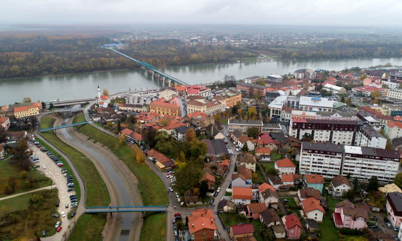 Aerial view of the city Brcko
