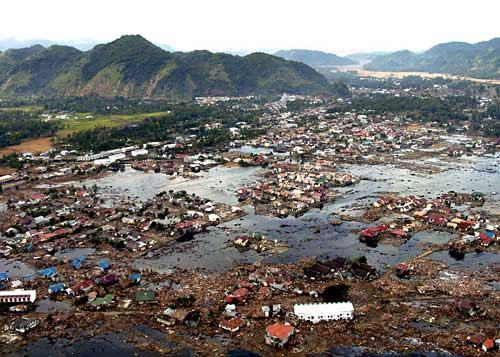 A village near the coast of Sumatra lays in ruin, Jan. 2, 2005, as a result of the tsunami that struck South East Asia Dec. 26, 2004.