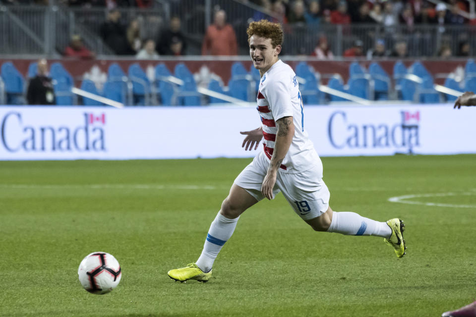Josh Sargent scored twice for the U.S. in Tuesday's 4-0 CONCACAF Nations League win over Cuba. (Angel Marchini/Getty)