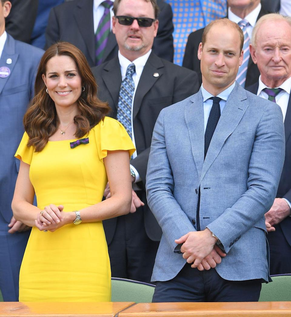 """<p>The Duke and Duchess turned Wimbledon into date night! Will and <a href=""""https://www.townandcountrymag.com/style/fashion-trends/a22148510/kate-middleton-yellow-dress-wimbledon-mens-finals-2018/"""" rel=""""nofollow noopener"""" target=""""_blank"""" data-ylk=""""slk:Kate attended the men's finals in 2018"""" class=""""link rapid-noclick-resp"""">Kate attended the men's finals in 2018</a>, where they watched Novak Djokovic win the Grand Slam title. </p>"""