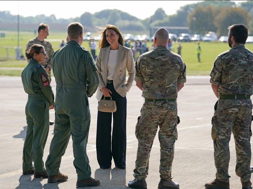 The Duchess of Cambridge during a visit to RAF Brize Norton, near Oxford, to meet military personnel and civilians who helped evacuate Afghans from their country (PA)