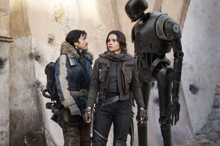 Diego Luna, Felicity Jones, and K-2SO in Rogue One