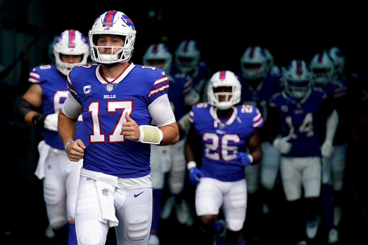 Buffalo Bills quarterback Josh Allen was named the AFC Offensive Player of the Week after his five-touchdown game against Washington in Week 3. (Jasen Vinlove/USA TODAY Sports)