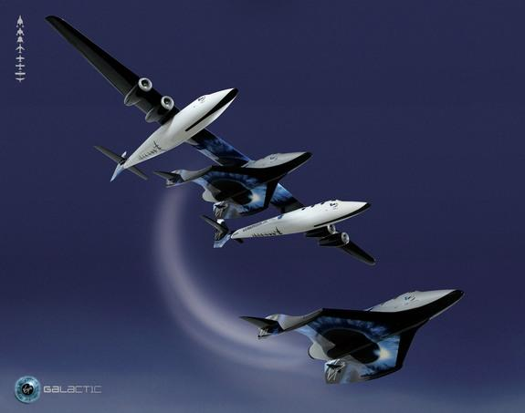 An artist's illustration of a SpaceShipTwo drop launch from its mothership WhiteKnightTwo.