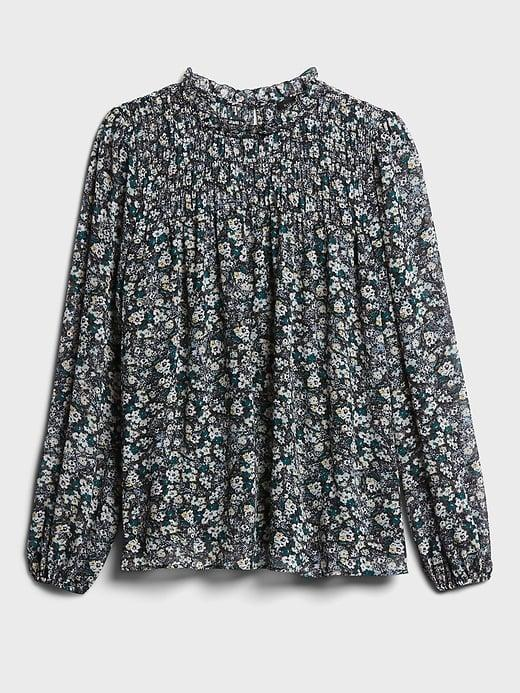 <p>Pair this <span>Banana Republic Floral Smocked Ruffle-Collar Top</span> ($29, originally $85) with a floral maxi and combat boots for a cool mixed floral look!</p>