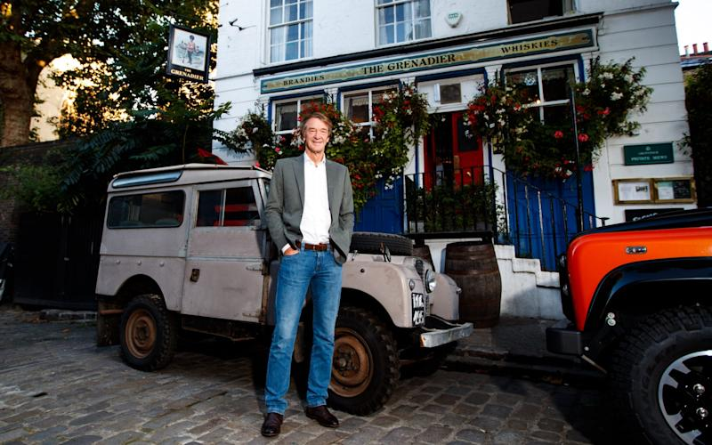 Jim Ratcliffe with his Land Rover Defenders outside the London pub which inspired the name for his planned new car - www.gomesphotography.co.uk