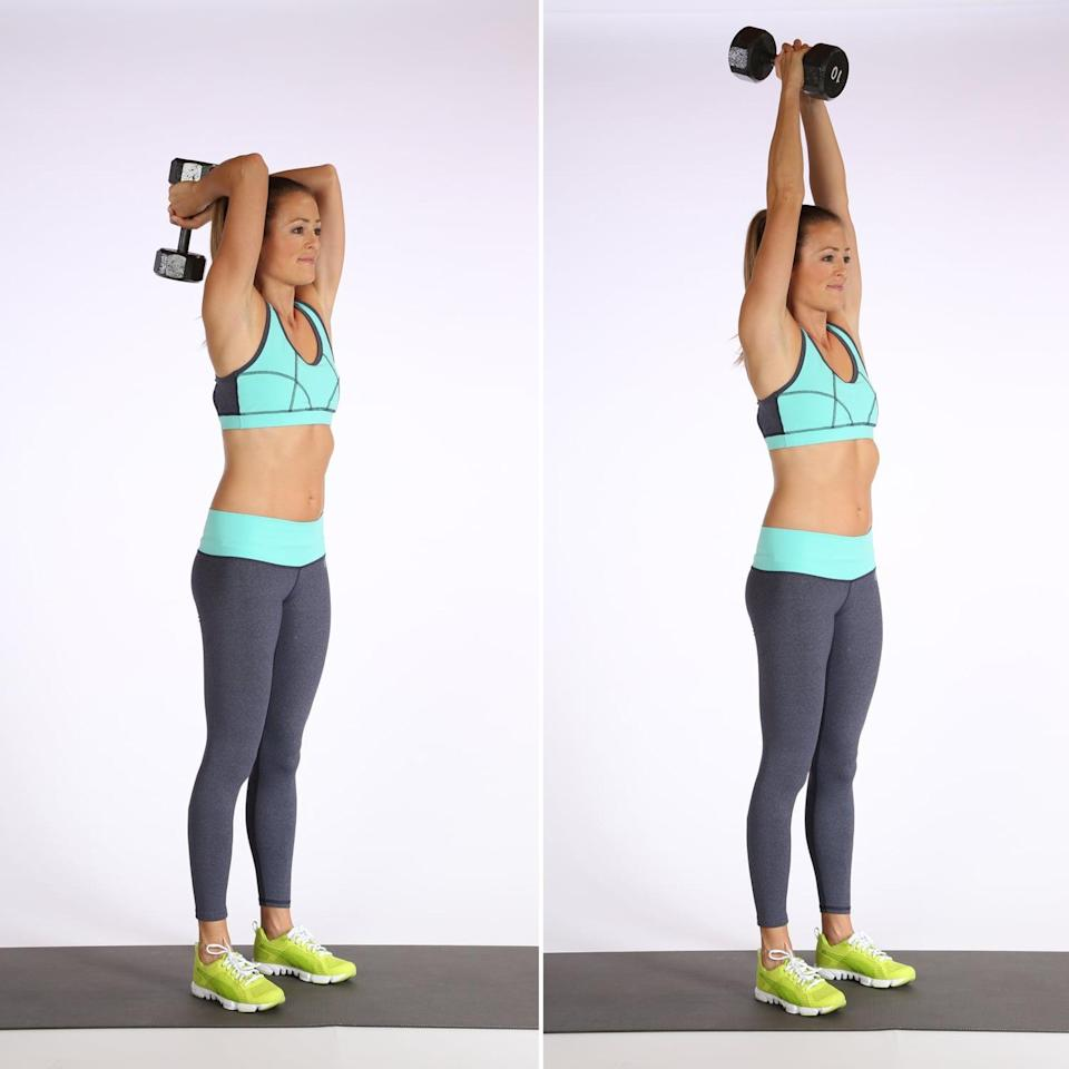 <ul> <li>Stand with your feet hip-distance apart. </li> <li>Hold one dumbbell (go for your heavier weight) with both hands, bending the elbows behind your head.</li> <li>Straighten your arms to lift the dumbbell into the air, then slowly bend the arms to lower. This counts as one rep.</li> </ul>