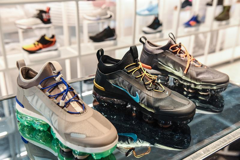 NEW YORK, NY - DECEMBER 20: Nike sneakers are seen on display at the Nike flagship store on 5th Ave. on December 20, 2019 in New York City. Revenue in the North American market, which accounts for the majority of Nikes sales, rose 5% from a year ago. The company said its Jordan brand had its first ever billion-dollar quarter. (Photo by Stephanie Keith/Getty Images)