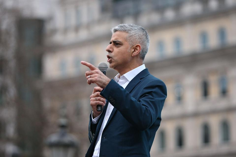 Mayor of London Sadiq Khan speaks before the free screening of Asghar Farhadi's The Salesman in Trafalgar Square, central London, as the Iranian director is boycotting this weekend's Oscars over Donald Trump's travel ban.