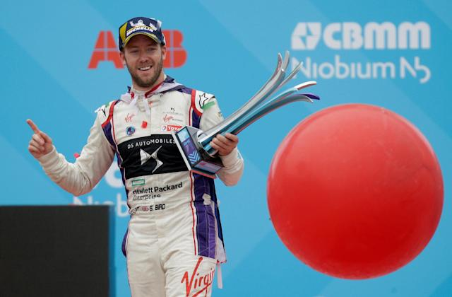 Motor Racing - Formula E - Rome ePrix - Rome, Italy - April 14, 2018 DS Virgin Racing's Sam Bird celebrates winning the race with the trophy during the podium ceremony REUTERS/Max Rossi