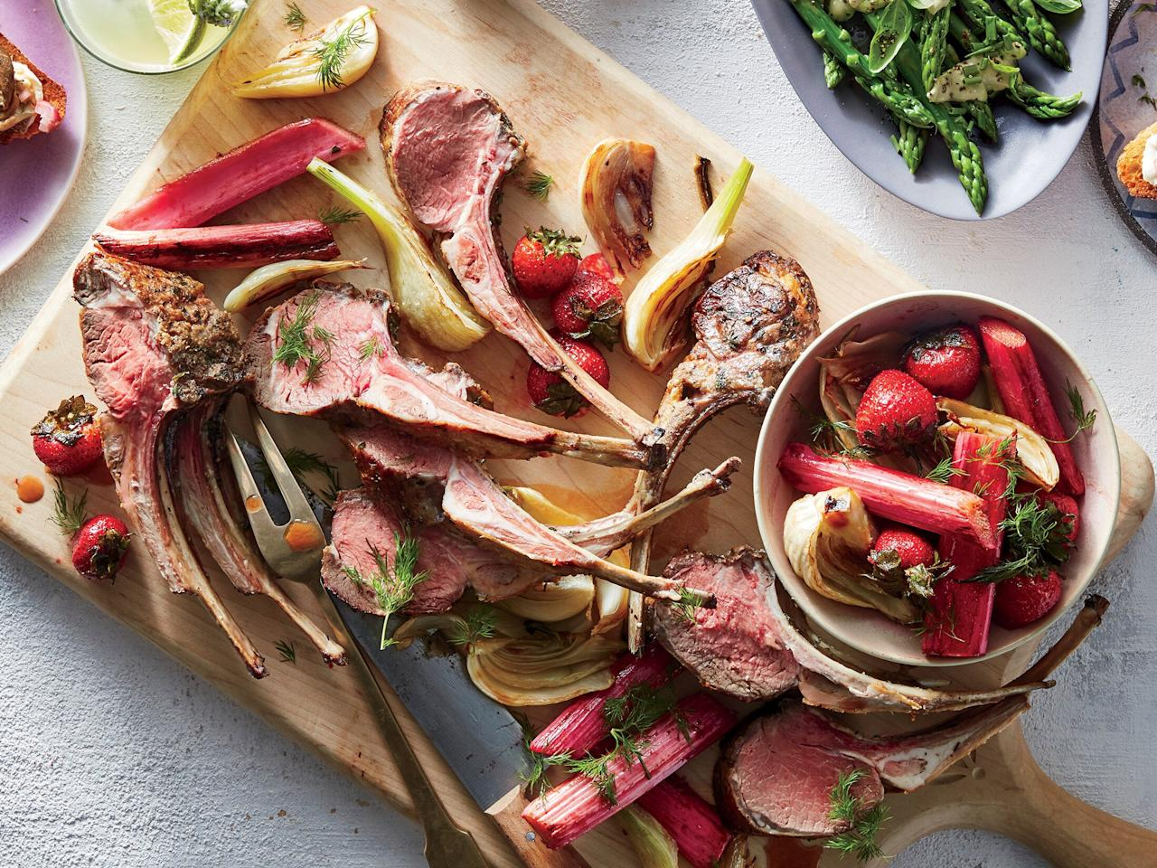 """<p>Lamb's pleasantly gamey flavor pairs beautifully with tart rhubarb, sweet strawberries, and anise-scented fennel. """"Frenched"""" racks of lamb are trimmed so that the bones are cleaned of fat and meat; if you can't find pre-frenched lamb racks, ask your butcher to french them for you. Look for big stalks of rhubarb at the market; they'll hold their shape better than smaller ones, which can easily get too soft when cooked.</p> <p><a href=""""https://www.myrecipes.com/recipe/roasted-spring-lamb-with-fennel-rhubarb-and-strawberries"""">Roasted Spring Lamb With Fennel, Rhubarb, and Strawberries Recipe</a></p>"""