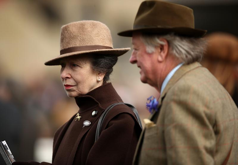 Princess Royal with Andrew Parker Bowles during day two of the Cheltenham Festival at Cheltenham Racecourse.