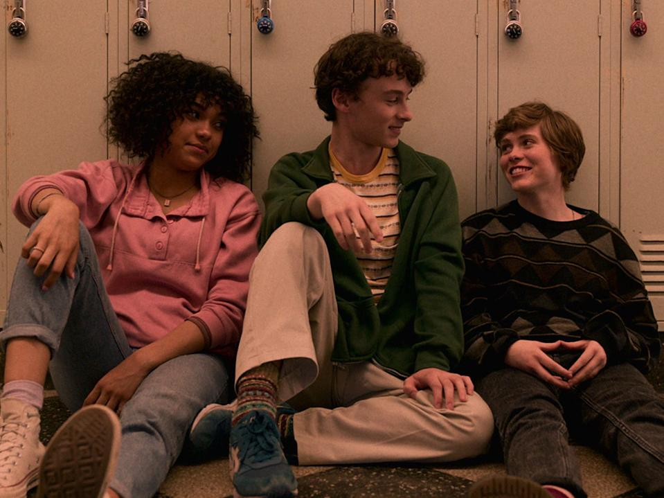 """Sofia Bryant, Wyatt Oleff, and Sophia Lillis costar in """"I Am Not Okay With This."""""""