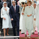 <p>Diana wore an aquamarine shalwar kameez whilst in Pakistan in 1996. Many noted how similar the Duchess of Cambridge looked during her trip to Kuala Lumpur in 2012.</p>