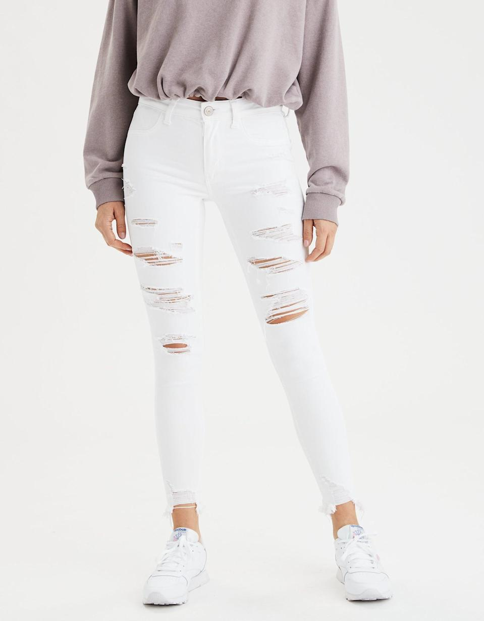 <p>Over 200 reviews on the American Eagle website confirm that the <span>AE Ne(x)t Level Jegging</span> ($30, originally $60) is comfortable enough to marry. If you're going for the slashed-but-not-too-slashed look, the placement on these holes is pretty perfect.</p>