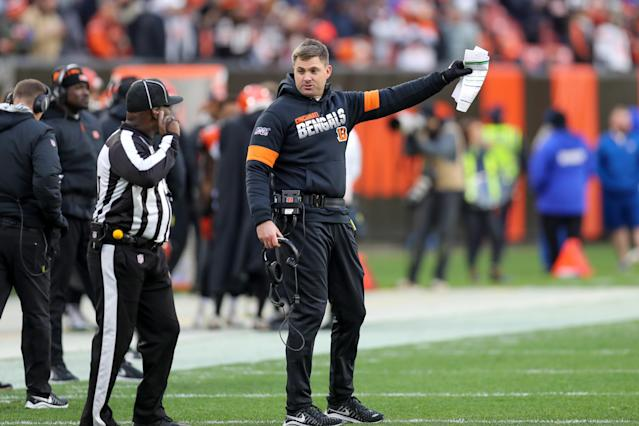 "Cincinnati Bengals head coach Zac Taylor argues a call against the <a class=""link rapid-noclick-resp"" href=""/nfl/teams/cleveland/"" data-ylk=""slk:Cleveland Browns"">Cleveland Browns</a>. The Bengals have accused the <a class=""link rapid-noclick-resp"" href=""/nfl/teams/new-england/"" data-ylk=""slk:Patriots"">Patriots</a> of filming their sideline during the game. (Frank Jansky/Icon Sportswire via Getty Images)"