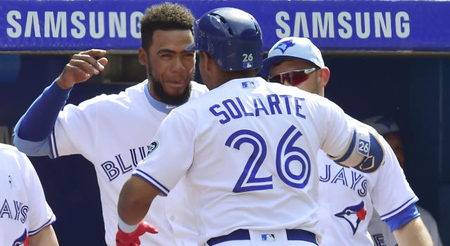 Yangervis Solarte and Teoscar Hernandez gave the Blue Jays quite the power boost against the Washington Nationals. (Frank Gunn/The Canadian Press via AP)