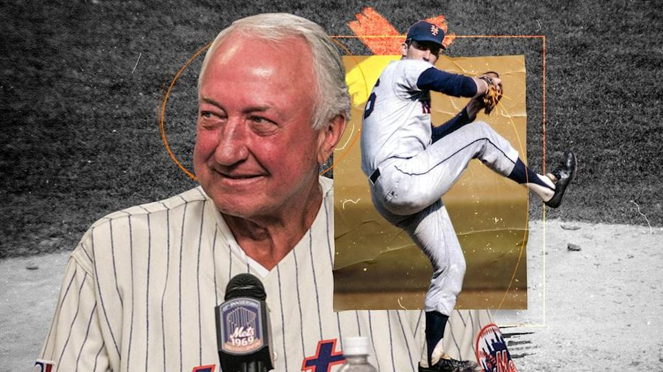 Jerry Koosman treated image, older picture of him throwing and newser picture
