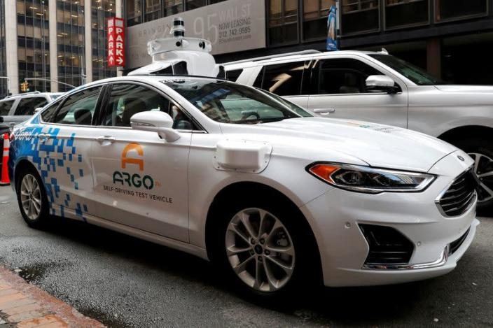 FILE PHOTO: Argo Ai self driving prototype vehicle is seen outside a Ford and Volkswagen joint news conference in New York City