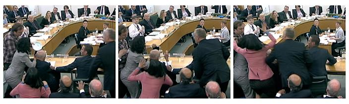 A series of images from television show Wendi Deng (3rd L) lunging towards a man trying to attack her husband, News Corp Chief Executive and Chairman Rupert Murdoch, during a parliamentary committee hearing on phone hacking at Portcullis House in London July 19, 2011. (REUTERS/Parbul TV via Reuters TV)