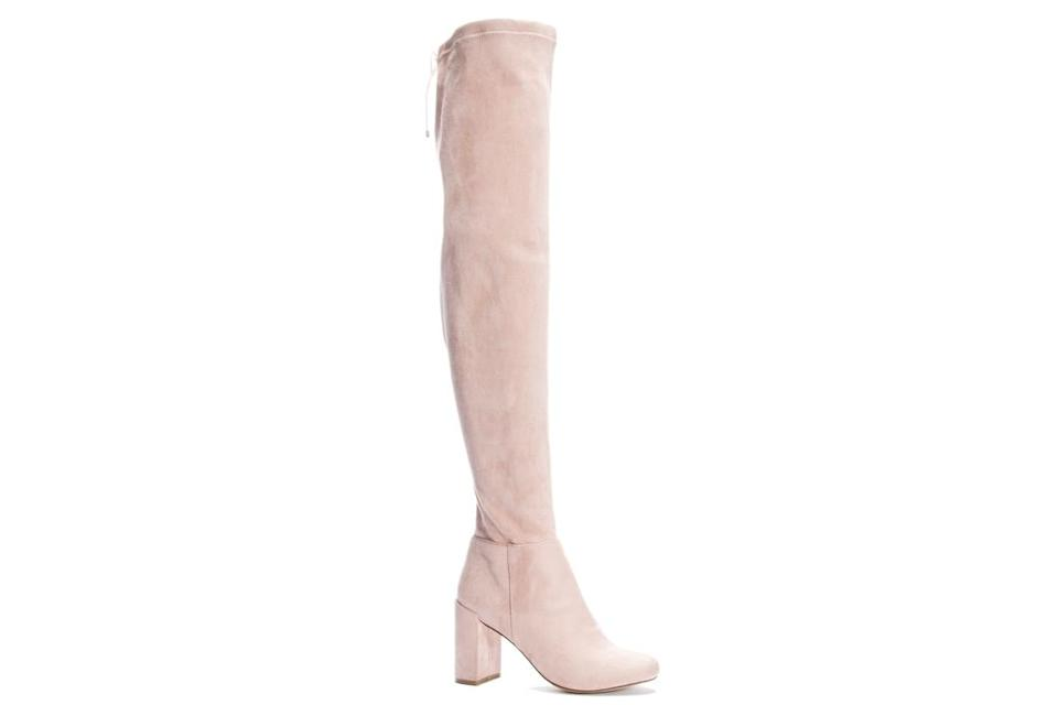 thigh-high boots, boots, suede, over the knee, chinese laundry