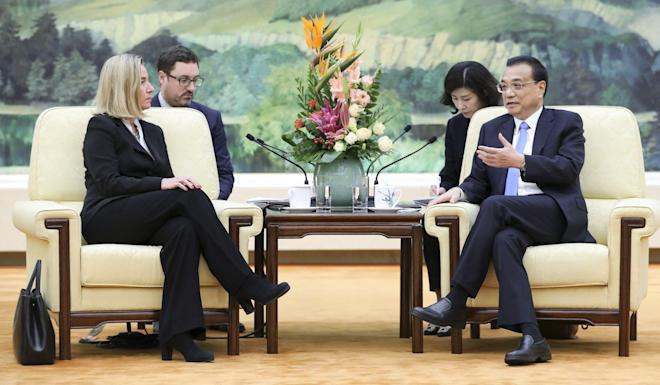 European Union diplomatic chief Federica Mogherini meets with Chinese Premier Li Keqiang in Beijing on Thursday. Photo: Xinhua