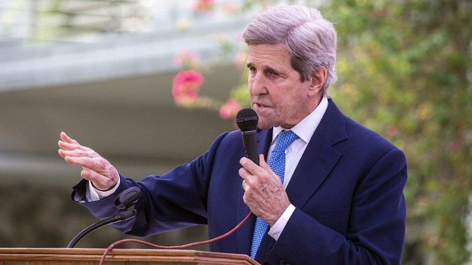 Special US envoy on climate John Kerry speaks at a joint news conference with Bangladesh Foreign Minister Dr AK Abdul Momen in Dhaka, Bangladesh, 09 April 2021