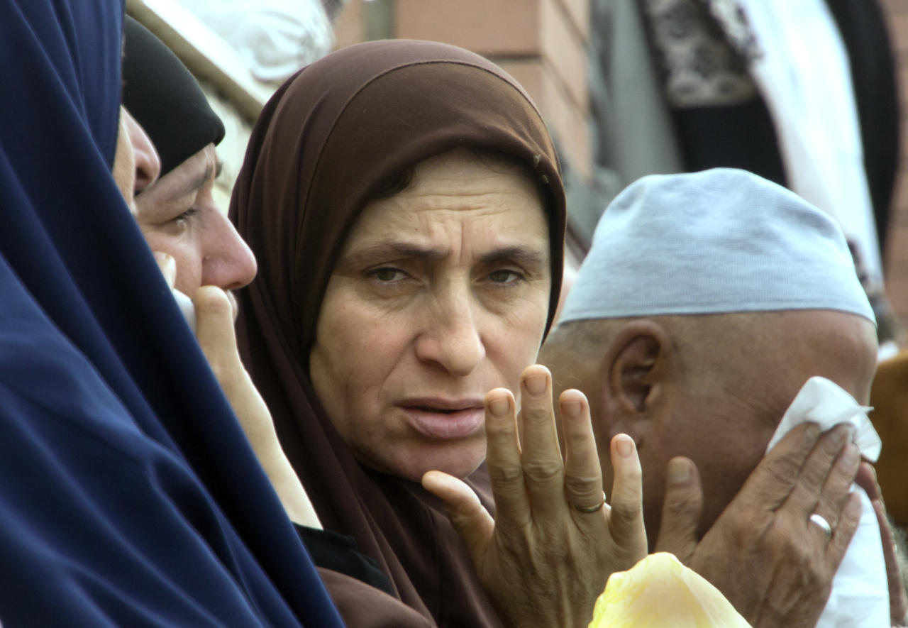 <p>Relatives of injured worshippers grieve outside the Suez Canal University hospital in Ismailia, Egypt, Saturday, Nov. 25, 2017, a day after an attack on a mosque. (Photo: Amr Nabil/AP) </p>