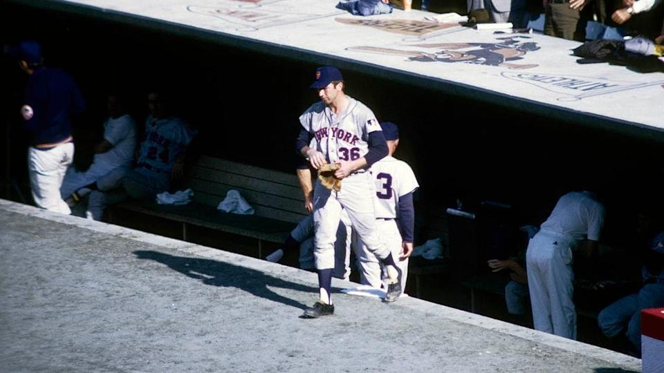Oct 12, 1969; Baltimore, MD, USA; FILE PHOTO; New York Mets pitcher Jerry Koosman (36) walks out of the dugout against the the Baltimore Orioles during Game 2 of the 1969 World Series at Memorial Stadium. The Mets defeated the Orioles 2-1.