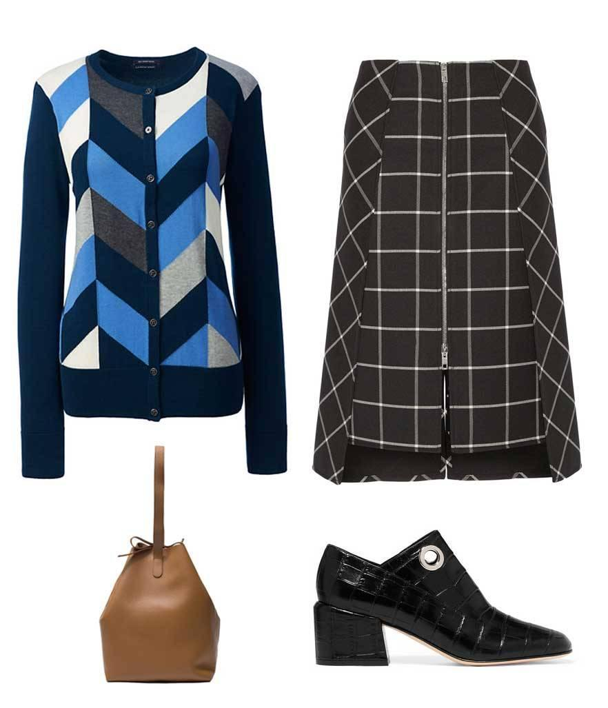 "<p>Taking cues from Miu Miu's blue argyle sweater from the Fall 2016 collection, you can achieve a similar look by choosing an abstract, geometric-print cardigan if you don't want to go total ""granny chic."" Like Miu Miu, accentuate the bold color and pattern by pairing it with an equally graphic piece, albeit in a much more muted color like this black checked skirt. </p>"