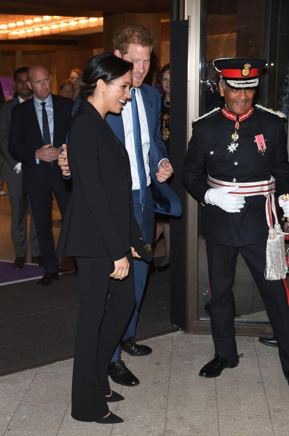 """<p>Following the charity awards, <a href=""""https://www.elle.com/uk/life-and-culture/culture/a22980864/meghan-markle-prince-harry-wellchild-black-suit-awards/"""" rel=""""nofollow noopener"""" target=""""_blank"""" data-ylk=""""slk:Prince Harry"""" class=""""link rapid-noclick-resp"""">Prince Harry</a> placed a loving hand on his wife's back to subtly say 'I got you', September 2018. *Sigh*.</p>"""
