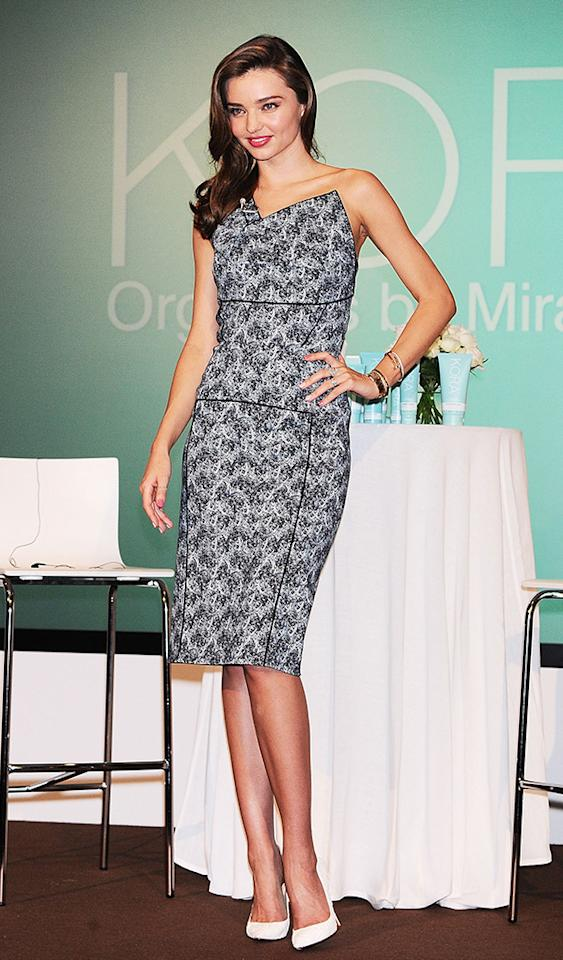 TOKYO, JAPAN - JULY 22:  Supermodel Miranda Kerr attends 'KORA Organics by Miranda Kerr' Press Conference at Grand Hyatt on July 22, 2013 in Tokyo, Japan.  (Photo by Jun Sato/WireImage)