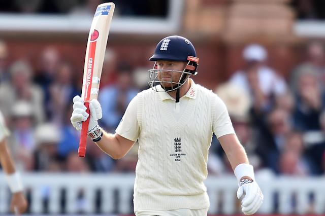 England's Jonny Bairstow celebrates his half-century on day two of the second Ashes Test. (GLYN KIRK/AFP/Getty Images)