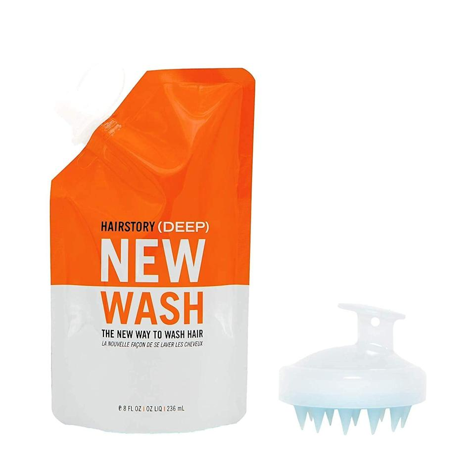 """<p>The <span>Hairstory New Wash (Deep) Hair Cleanser and Conditioner, 8oz Pouch + Scalp Brush</span> ($50) is great for oilier hair types as there's bonus <a href=""""https://www.popsugar.com/beauty/benefits-apple-cider-vinegar-hair-47152068"""" class=""""link rapid-noclick-resp"""" rel=""""nofollow noopener"""" target=""""_blank"""" data-ylk=""""slk:apple cider vinegar"""">apple cider vinegar</a> to help with grease and product buildup.</p>"""