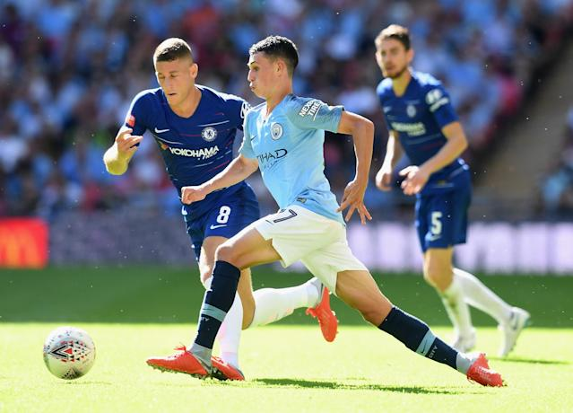 Phil Foden during the FA Community Shield between Manchester City and Chelsea at Wembley Stadium on August 5, 2018 in London, England.