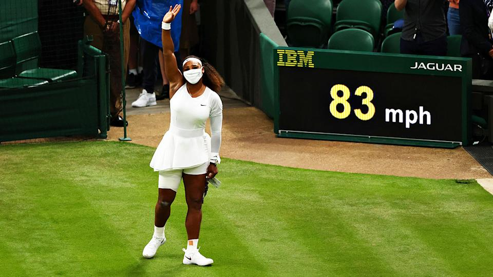 Serena Williams, pictured here waving to the crowd after retiring hurt at Wimbledon.