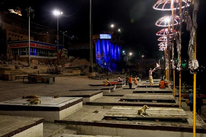Because of a nationwide coronavirus lockdown, the number of funerals in the mystical Indian city of Varanasi has dropped dramatically (AFP Photo/Anand SINGH)