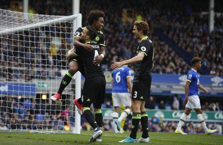 Britain Football Soccer - Everton v Chelsea - Premier League - Goodison Park - 30/4/17 Chelsea's Willian celebrates scoring their third goal with Cesc Fabregas and Marcos Alonso Reuters / Phil Noble Livepic